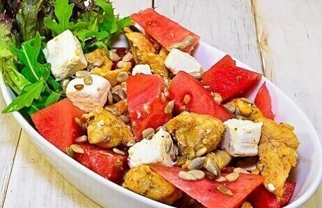 Grilled watermelon with a steak salad